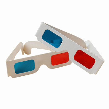 Hot Sales 3D Glasses Red / Blue Cyan Paper Card 3D Anaglyph TV Film Movies Free Post for Promotional