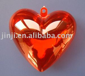 Red Plastic transparent decoration heart