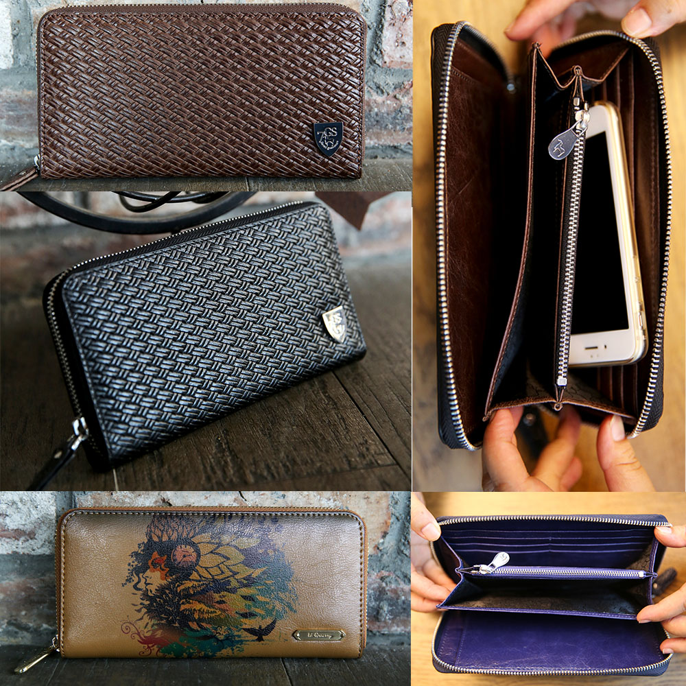 Leather Money Clip Clutch Bag Manufacturer Customizes Zipper Black Wallet Cases Cell Phone Case