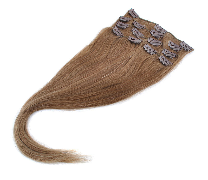 brazilian remy hair remy clip in hair extension A set of 7 pieces #8 Lightest Brown