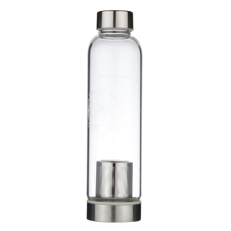 Wholease custom logo flower tea bottle borosilicate glass water bottle with infuser
