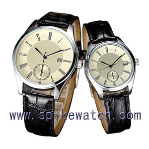 Business leisure leather band date display wholesale men waterproof watch