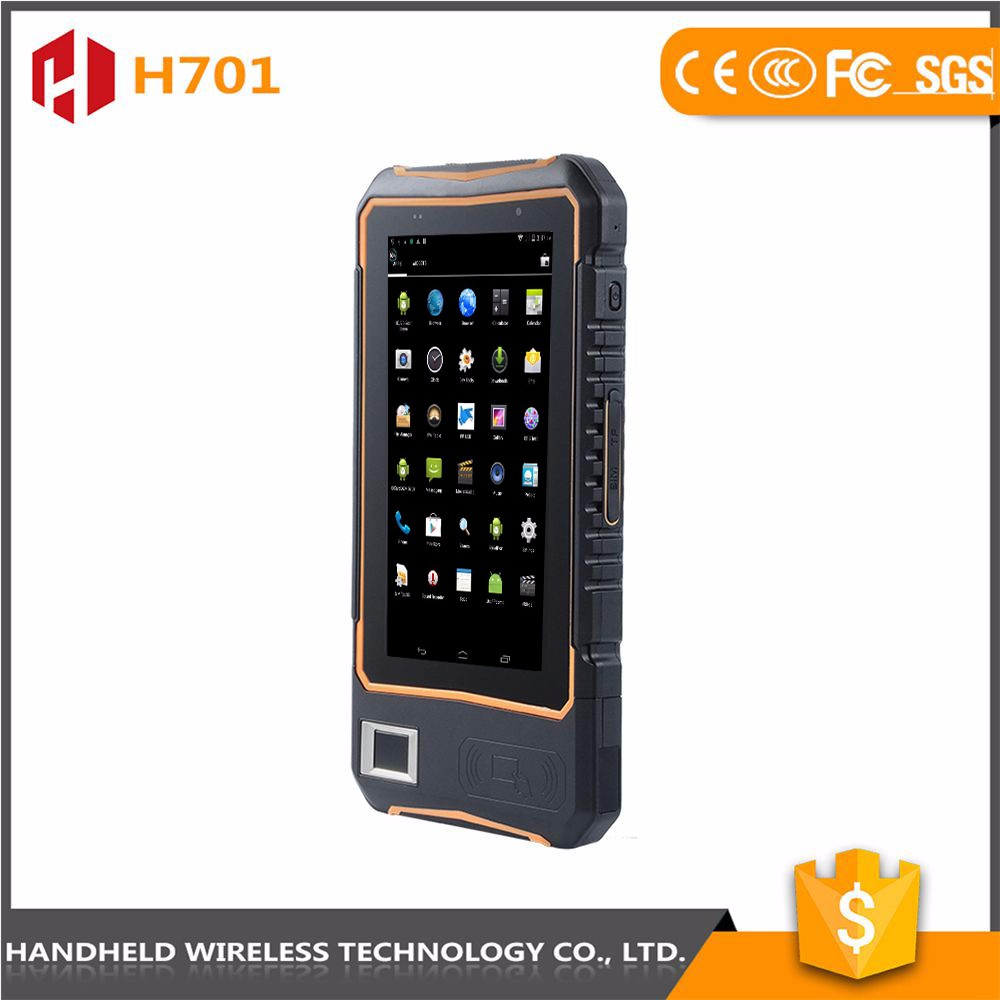 7intch rugged handheld wireless H701 ip 65 android 4.4.2 rfid reader barcode scanner phone pda
