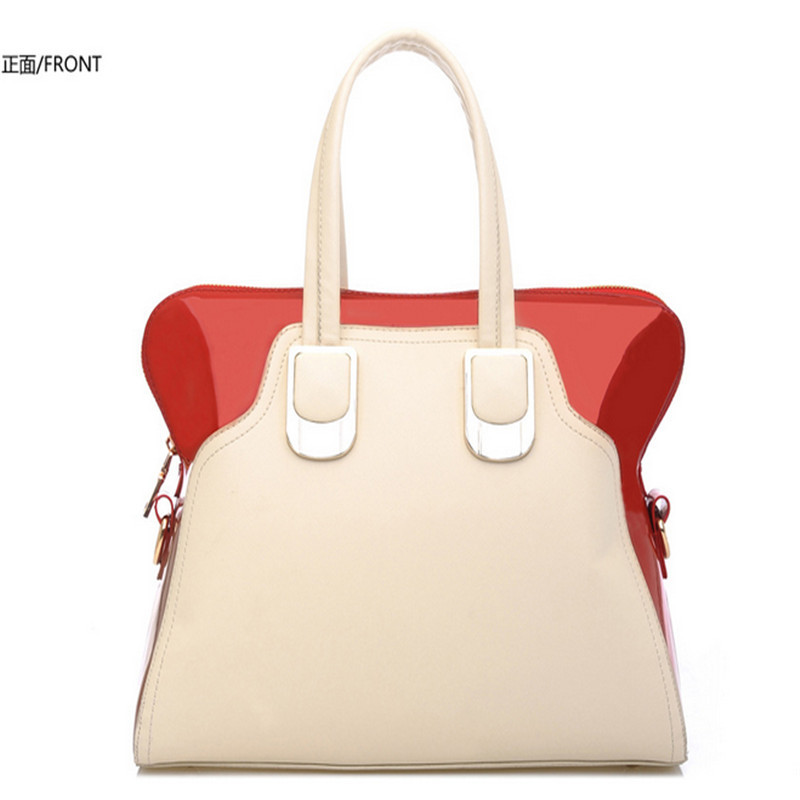 3 Colors Korean PU Handbag 2015 Womens Large Handbags Shoulder Bags Designer Solid Handbag PU Hit Color Handbags Messenger Bag