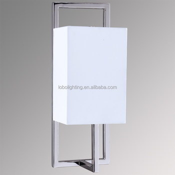 Hotel Polished Nickel Wall Sconce with Rectangle White Linen Half Shade and Medium base socket