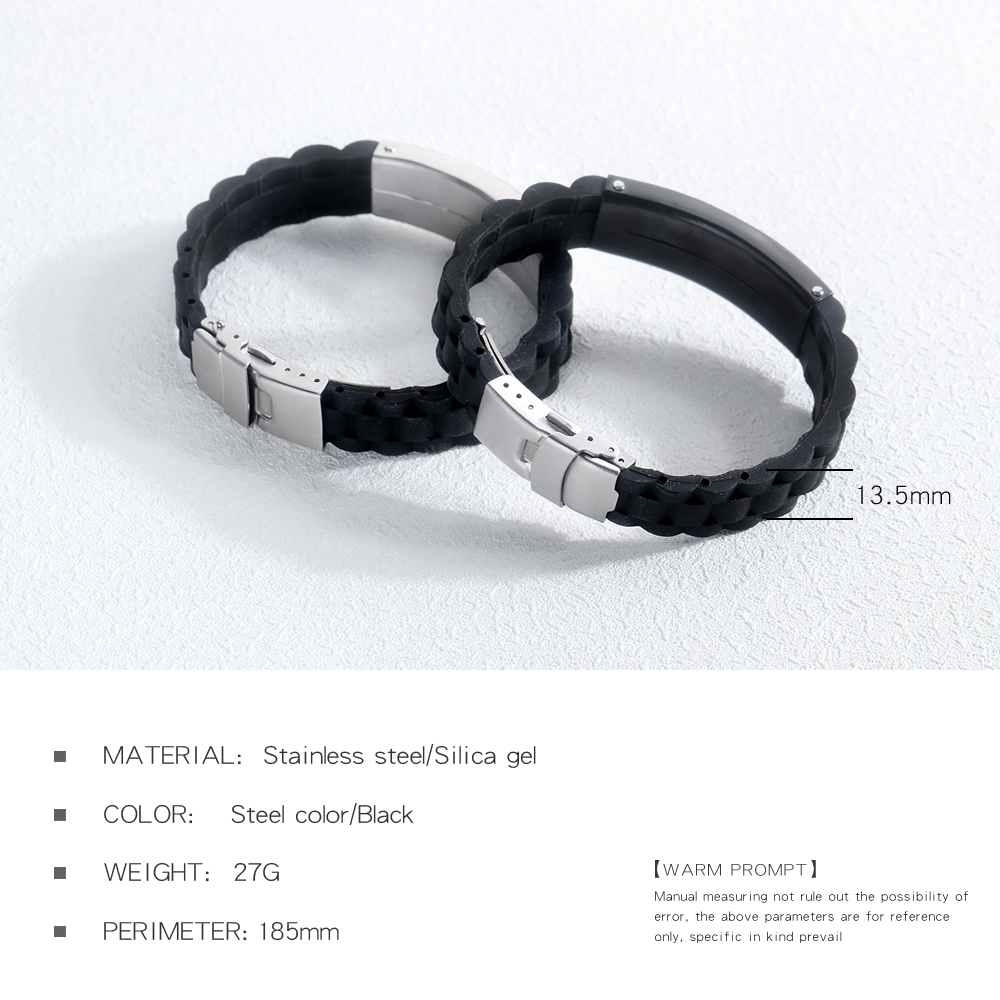 Fashion Jewelry Mens Stainless Steel Custom Silicone Bracelet