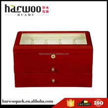 hot popular wooden watch package,cherry watch box with 2 drawers,fancy watch box with acrylic lid