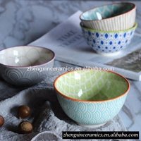 Japanese style wedding restaurant dinner salad noodle soup color embossed pad print paint round ceramic bowl