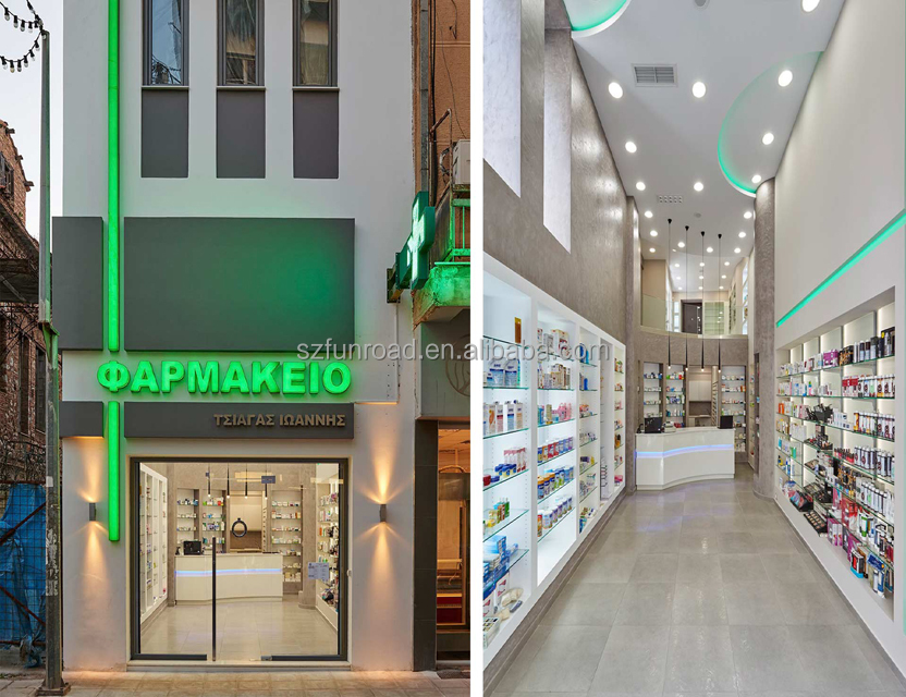 2018 new product online pharmacy shelves wooden/MDF with led strips pharmacy furniture in China