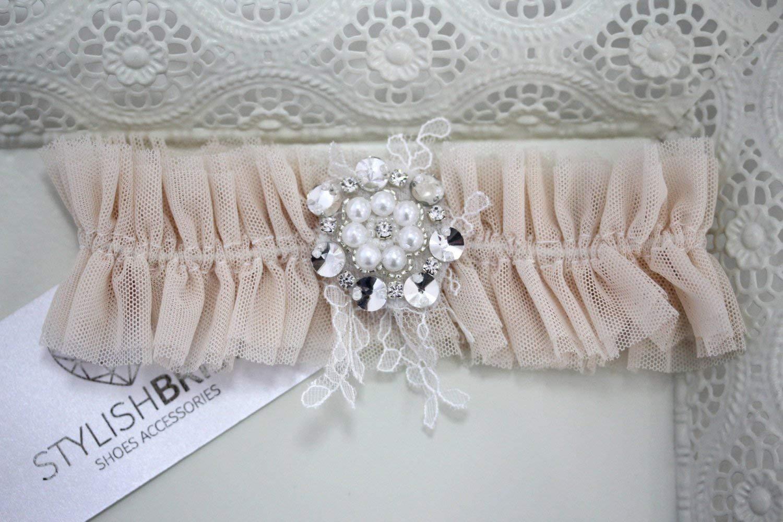 Peach Wedding garter, Peach Wedding garter, Peach bridal garter, Peach bridal garters, Pink Tulle Bridal Garter, Pink Bridal Garter