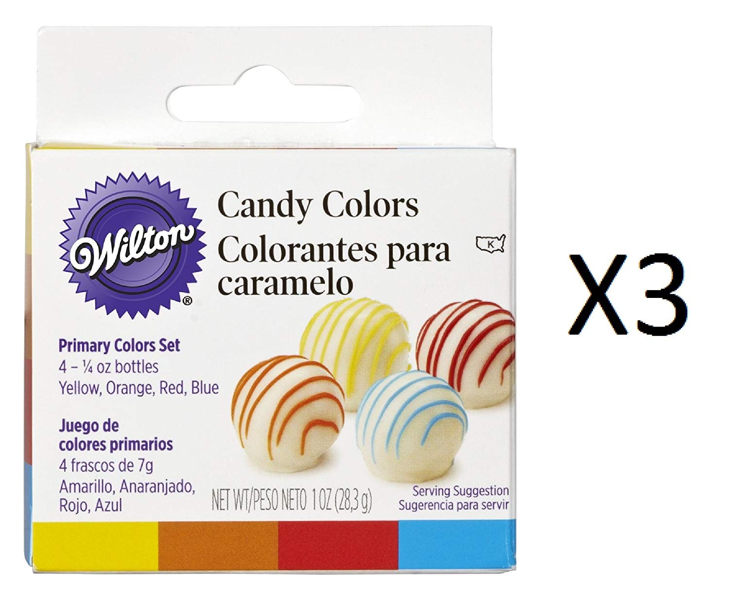 Bulk Buy: Wilton Candy Colors 1/4 Ounce 4/Pkg Yellow/Orange/Red/Blue W1913-1299 (3-Pack)
