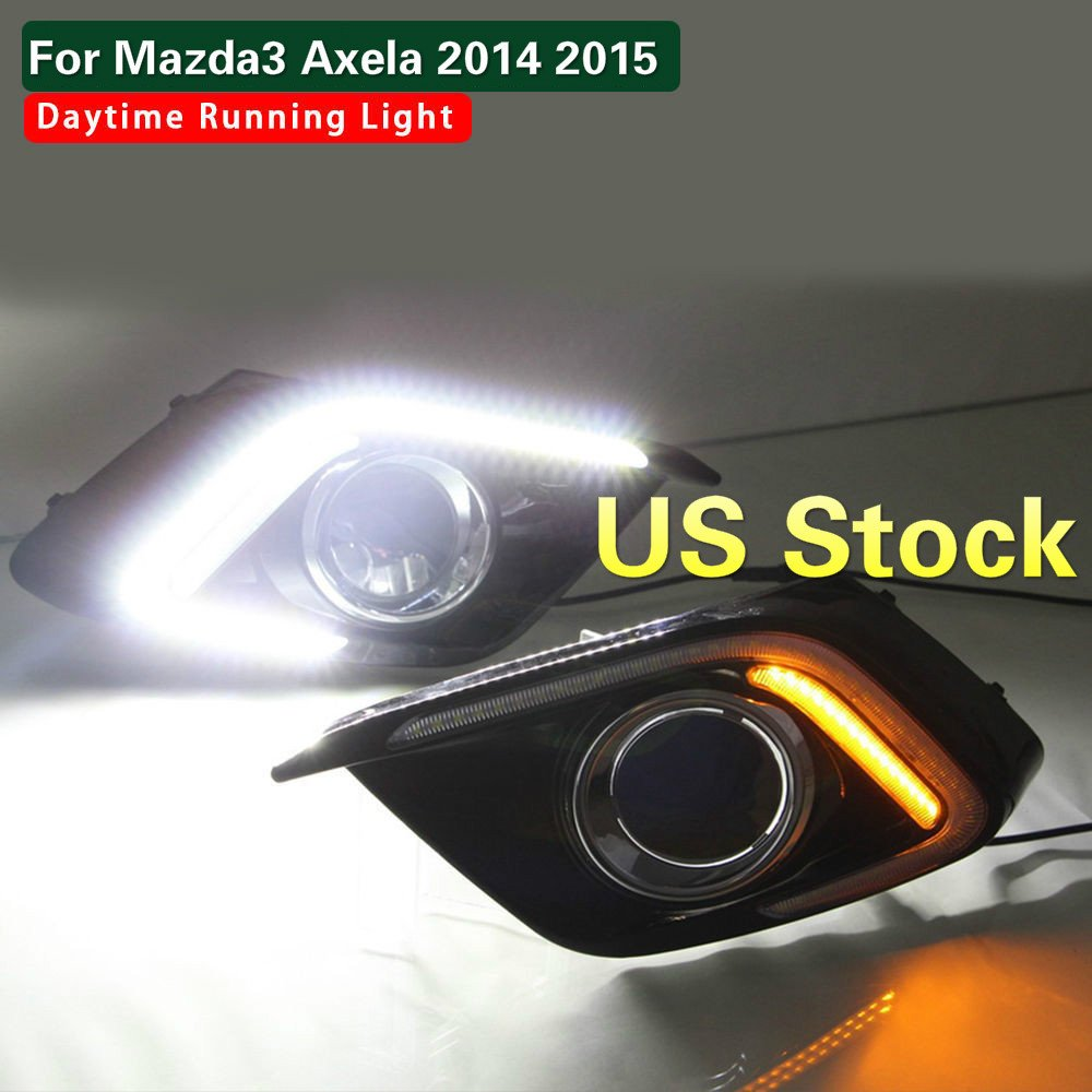 MotorFansClub Daytime Running Light LED DRL Fog Lamp Cover for Mazda 3 Axela 2014 2015 with Turn Signal