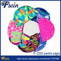 10pcs Men Women Polyester Flexible Patterned Water Sport Pool Swimming Bathing Caps Hat Various Color Nylon