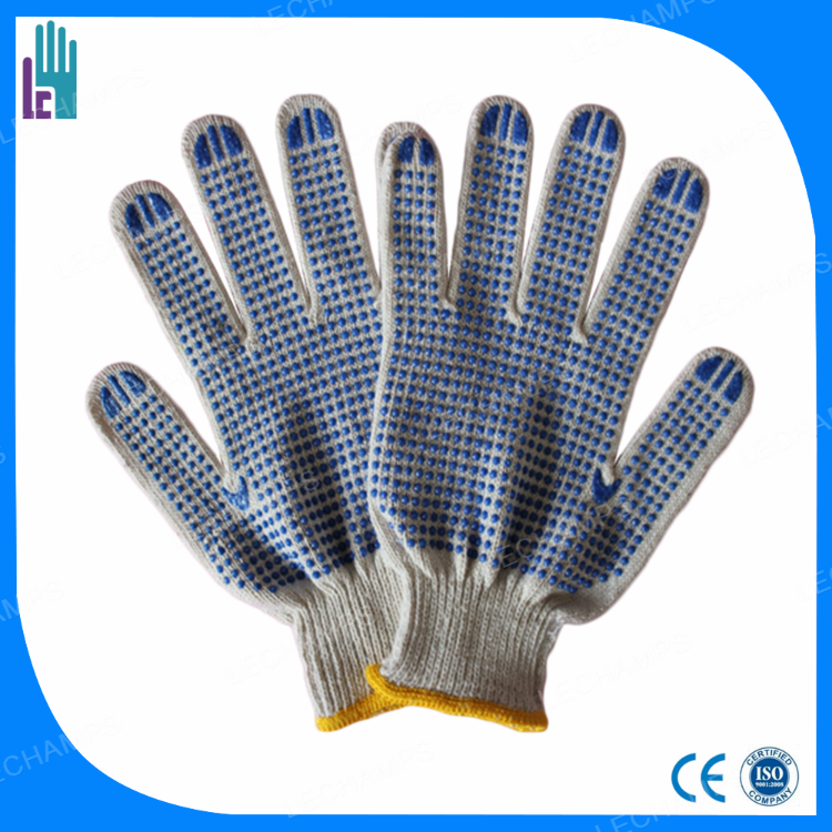China work gloves Economy Natural White Poly Cotton String Knit Gloves