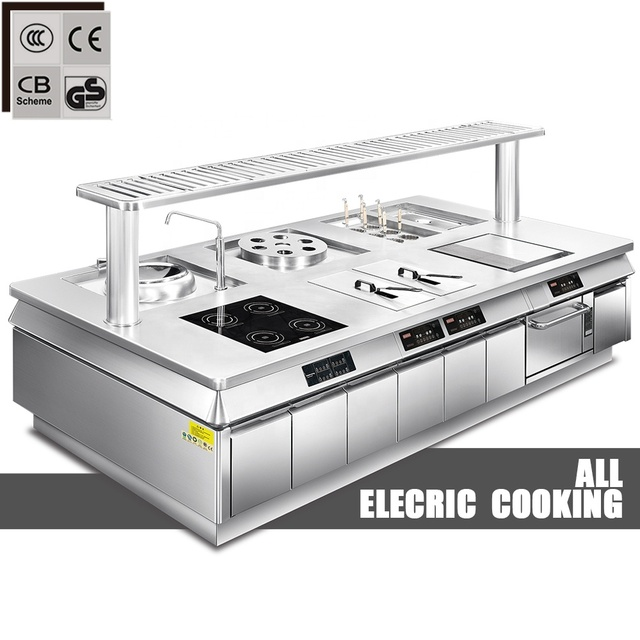 electric commercial kitchen equipment hotel stainless steel cooking equipment fast food restaurant equipment