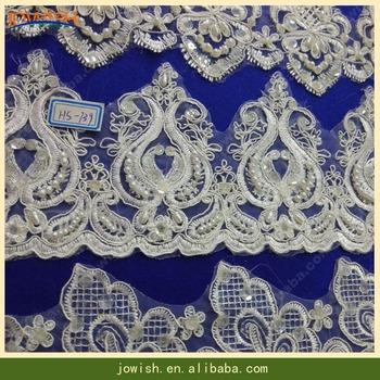 Bridal Veil Beaded Lace Trim,Bridal Gown Pearl Lace Fabric Trim ...