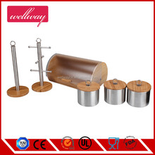 Semicircle Plastic and bamboo Bread Bin ,Round Canister with lid Set and wooden Paper Towel Holder and Mug Tree
