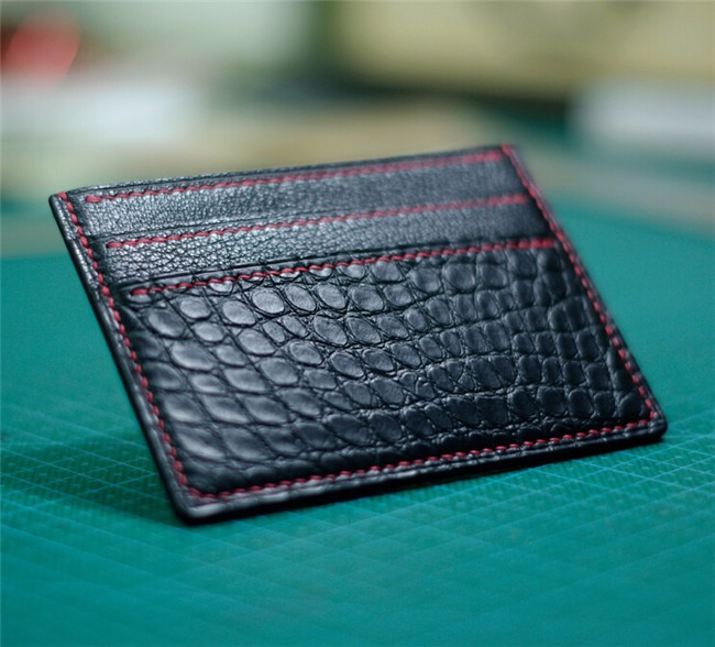 Top quality simple design genuine crocodile leather business card holder