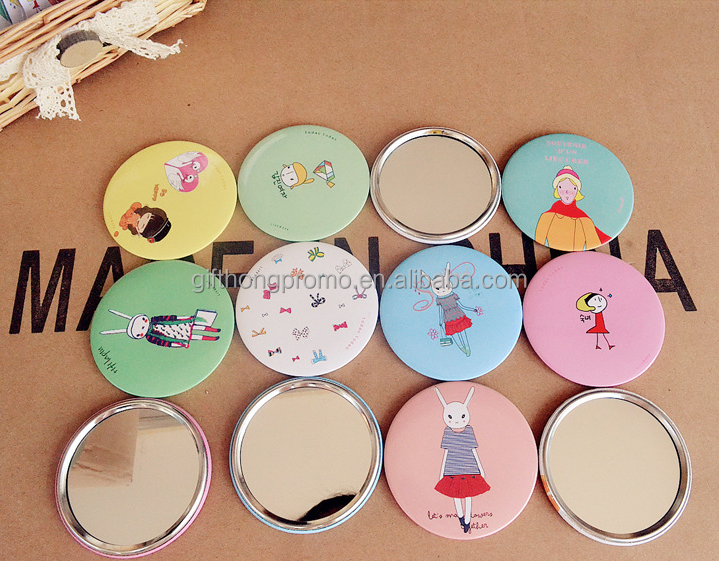 Promotion gifts plastic square round pocket mirror