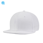 Pure White South and North Korea Style 6 Panel Flat Brim Snapback Blank Caps for Entertainment