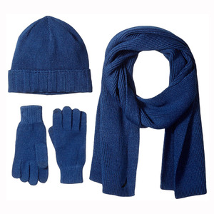 America style hot selling high quality custom winter knitted beanie scarf glove sets