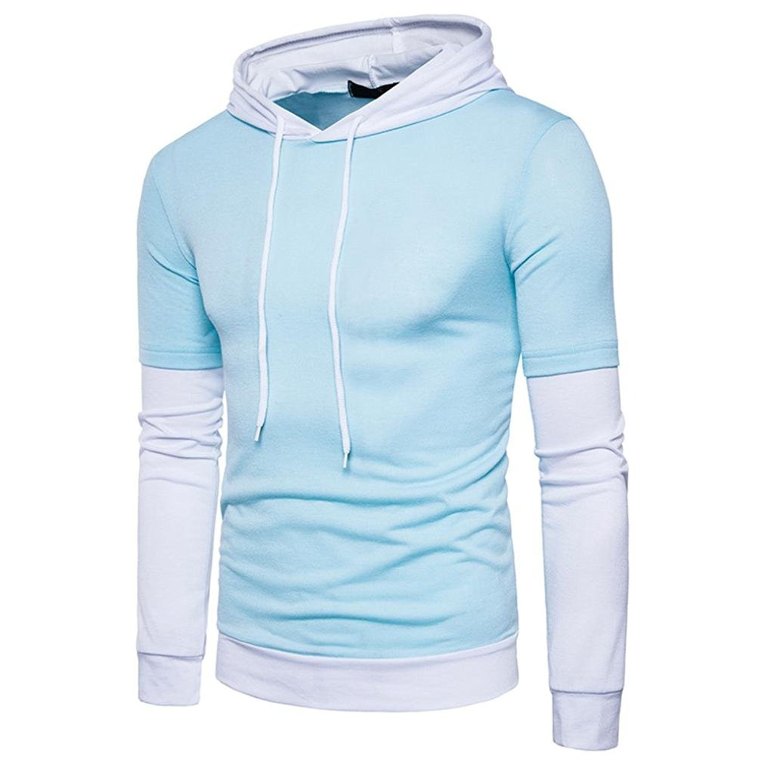 Mens Hoodies,Bokeley Fashion Long Sleeve Solid Patchwork Hooded Sweatshirt Pullover Top Coat
