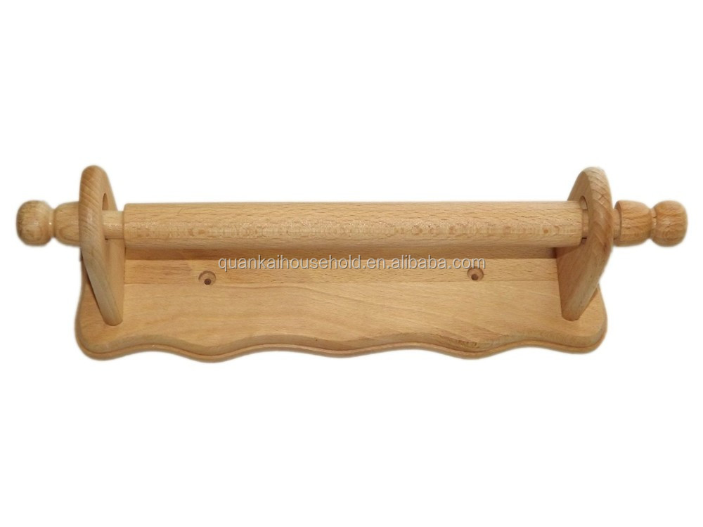 Wooden Wall Mounted Kitchen Paper Roll Towel Holder Bamboo Rack Shelf Product On Alibaba