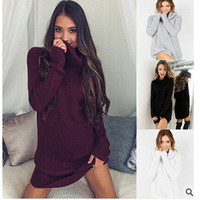 Soft Long Sleeved Sweater High Collar Knitted Dress Womens Long Tops Plus for Ladies