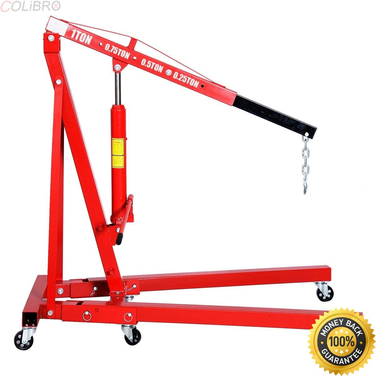 COLIBROX--1 Ton Folding Hydraulic Engine Crane Hoist Lift Stand Picker Wheel Garage. 2 ton engine hoist for sale. 1 ton cherry picker for sale. heavy duty diesel engine hoist, overhead shop crane.