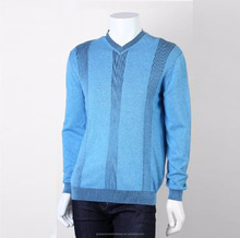 Low MOQ Men v neck 100 cotton knitted sweater pullover