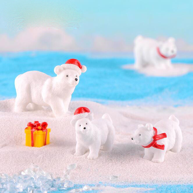 Christmas Gifts Polar Bear Moss Micro Landscape Bonsai Decorations Miniature Keychain Ornament Animal Decorations