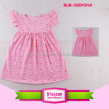 4d991f66a11 Children clothing kid smocked dress wing flutter sleeve monogram frock baby  girls party wear princess rainbow
