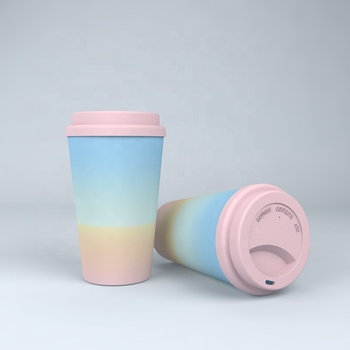 Customized Coffee Travel Mug Biodegradable Bamboo Fiber Cup