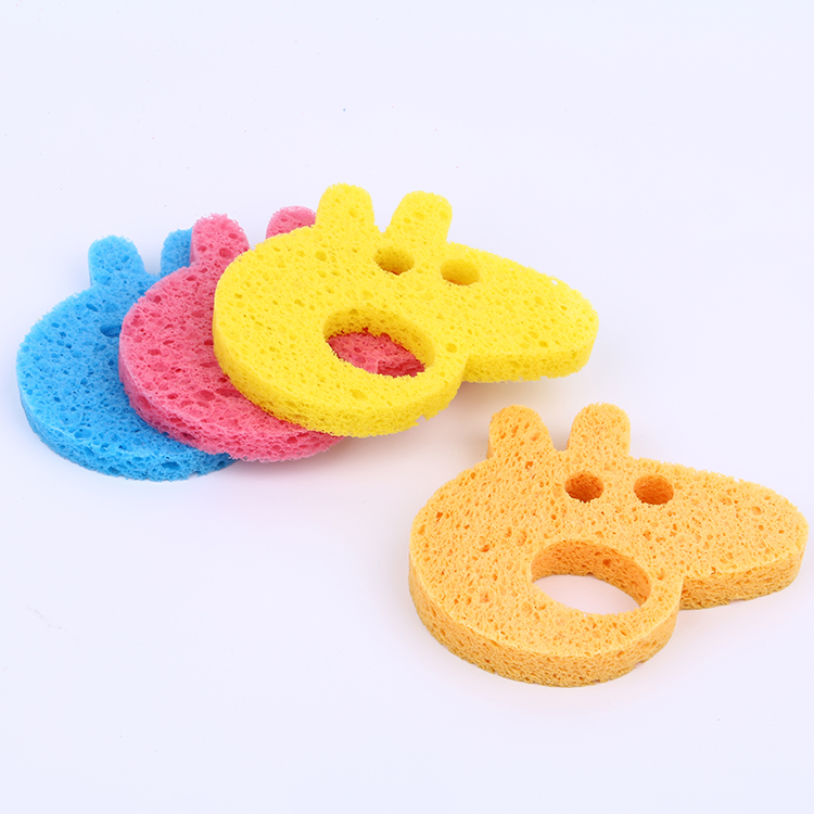 OEM size natural lovely cute facial natural cellulose scourer sponge