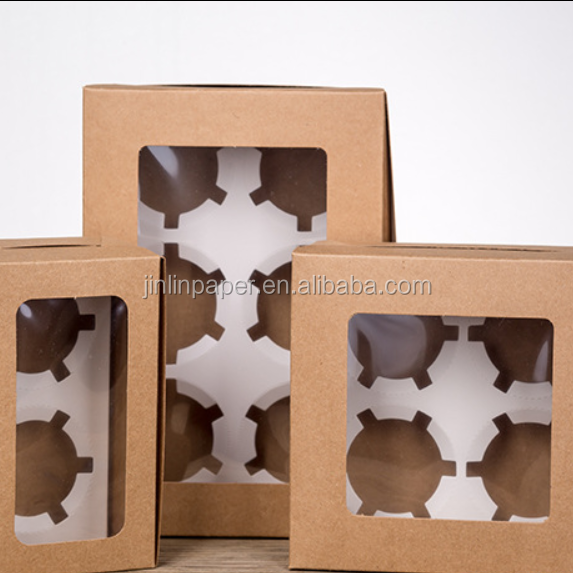 Food Grade Paper Muffin Box Cake Box With Paper Divider 2/4/6/12 Pack