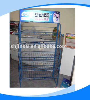 5layers supermarket metal display shelves for bottle of drinks