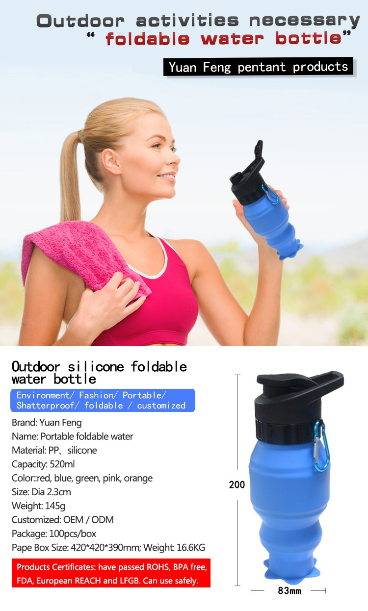 China Manufacturer Wholsale Outdoor BPA Free Portable Collapsible Silicone Foldable Sport Water Bottle