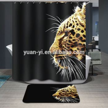 Waterproof Double Swag Shower Curtain With Valance