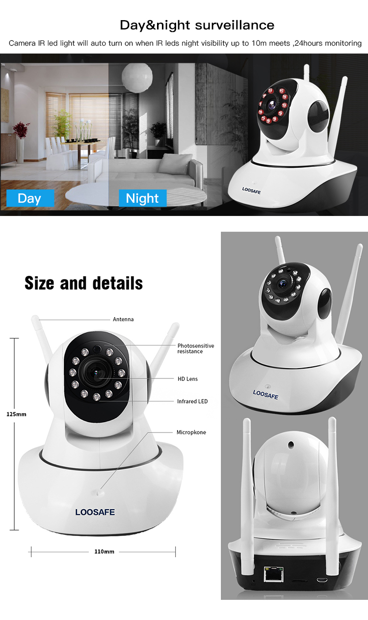 Good Quality Night Vision Wireless 720P IP Camera Home Security Motion Detection Indoor Wifi Camera