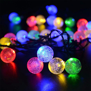 Outdoor Crystal Ball Fairy Lights Christmas Holiday Solar LED Bubble Ball String Lights