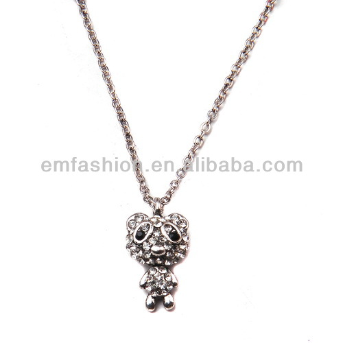 Fashion <strong>Cheap</strong> <strong>Cute</strong> Little Rhinestone Girls Panda Pendant <strong>Necklace</strong>