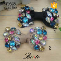 Newest spring ribbon rhinestone bow shoe accessory for women shoes