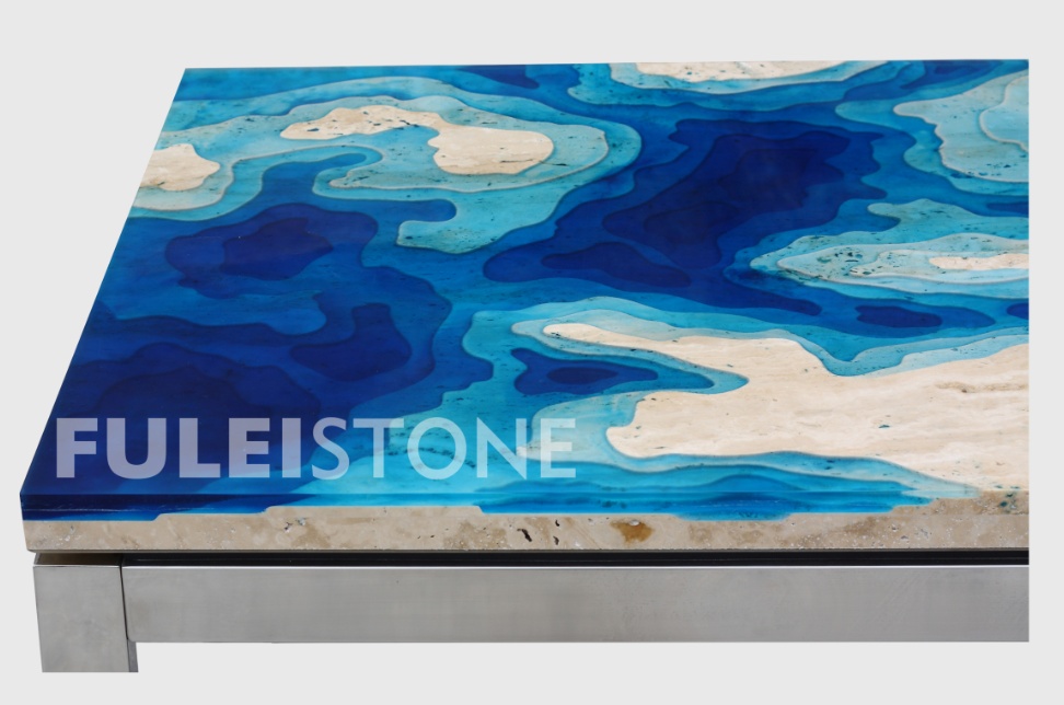 New marble stone product beautiful travertine resin table countertop tile for home furniture