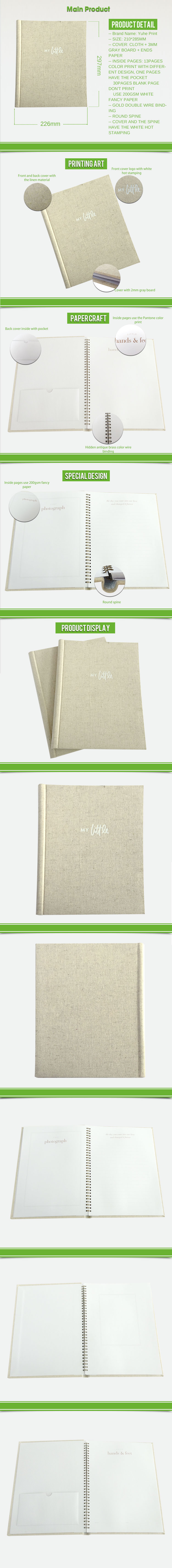 With perforation 4C/4C customized China supplier Lay flat spiral binding baby photo alum book bulk cheap price print