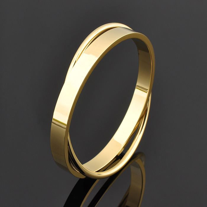 Wholesale High Quality New Design Women Double Stainless Steel Bangle Gold Jewelry Bracelet