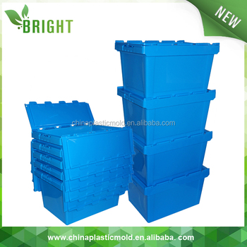 BX0666 60L stackable moving crates plastic tote box attached lid container