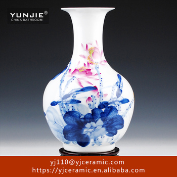Hotel Decoration Vase Lotus Pattern Big Porcelain Floor Vase For