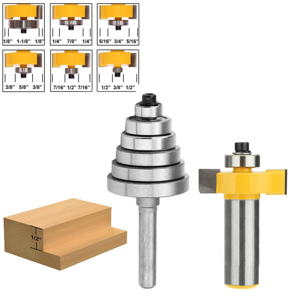 "Yakamoz 1/2 Inch Shank Rabbeting Router Bit with 6 Bearings Set for Multiple Depths 1/8"", 1/4"", 5/16"", 3/8"", 7/16"", 1/2"""