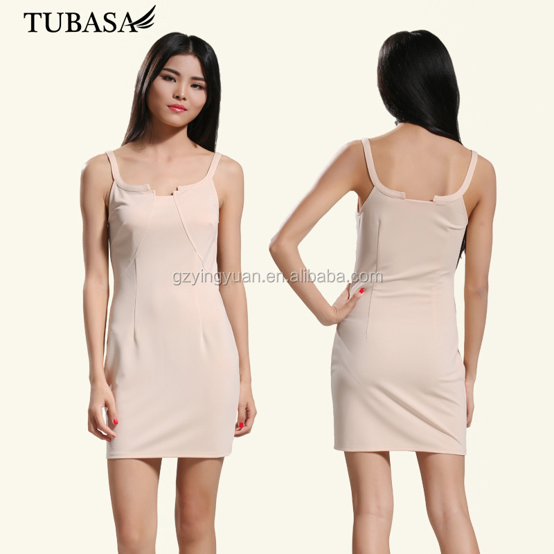 guangzhou clothing factory elegant slip monochrome pure pink sexy spaghetti strap girls dress for celebration