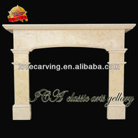 Egypt yellow marble fireplace surround carving for sale